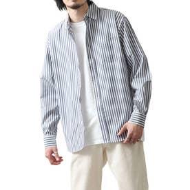 高密度T/Cブロード長袖レギュラーシャツ (ブルー系)