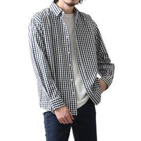 高密度T/Cブロード長袖レギュラーシャツ (ネイビー系2)