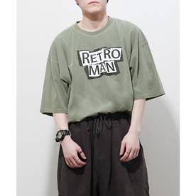 【UNCORD】 古着風ピグメント加工 【RETROMAN】ビッグシルエット半袖ツアーTシャツ (グリーン)