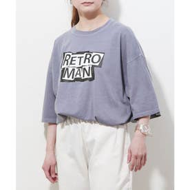 【UNCORD】 古着風ピグメント加工 【RETROMAN】ビッグシルエット半袖ツアーTシャツ (パープル)