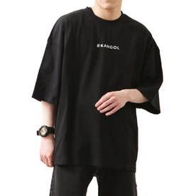 【コラボ】【ZIP FIVE×KANGOL】 ガールバックプリント半袖BIGTシャツ【ユニセックス】 (ブラック)