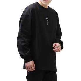 バラ刺繍ビッグシルエットロンT/長袖Tシャツ【ユニセックス】 (ブラック系)