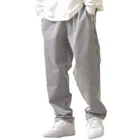 [Cooker Pants]テーパードワイドイージーシェフパンツ【ユニセックス】 (ストライプ)