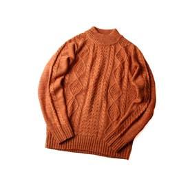 モックネックケーブルニットセーター【ユニセックス】 (オレンジ)