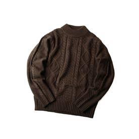 モックネックケーブルニットセーター【ユニセックス】 (ブラウン)