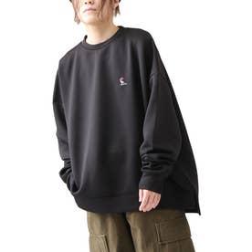 古着風ビッグシルエット高密度ダンボールポンチ刺繍クルースウェットトレーナー【ユニセックス】 (ブラック)