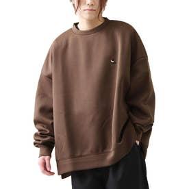 古着風ビッグシルエット高密度ダンボールポンチ刺繍クルースウェットトレーナー【ユニセックス】 (ブラウン)
