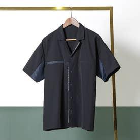 ステッチデザイン半袖シャツ (BL)